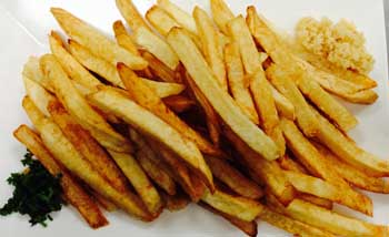 French Fries served with garlic and greens
